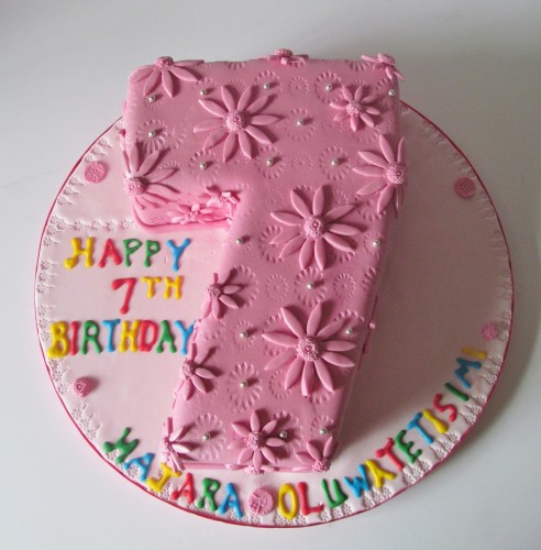 Number 7 Shaped Cake 492x500